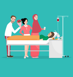 visiting friend sick in hospital room male and vector image vector image