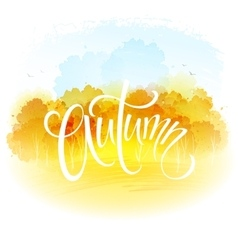 Watercolor autumn landscape vector