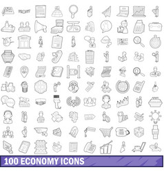 100 economy icons set outline style vector image