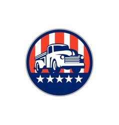 Vintage Pick Up Truck USA Flag Circle Retro vector image