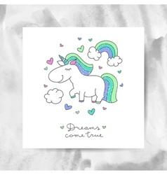 unicorn and rainbow vector image