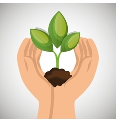 Hands holding plant green concept ecological vector