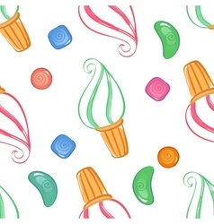 Colorful ice-cream seamless pattern with candies vector