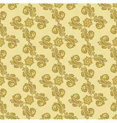gold pattern with curly leaves vector image
