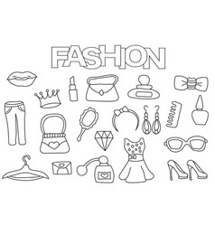 Fashion elements hand drawn set vector