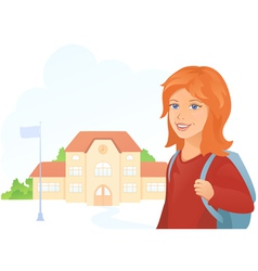Girl at the school vector image