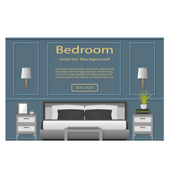 Bedroom design banner with furniture for your vector