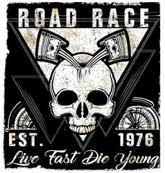 skull vintage motorcycle logo emblem t shirt vector image