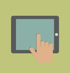 Hand touching digital tablet vector