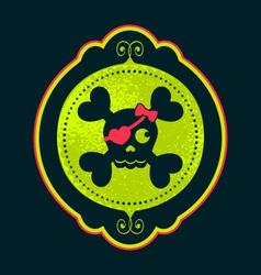skull cameo girl cameo neon green ornate frame vector image