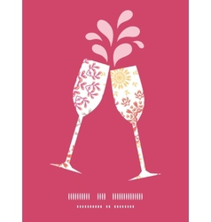 Folk floral circles abstract toasting wine vector