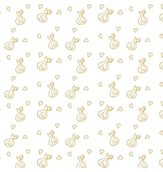 Seamless pattern with hand-drawn hearts bows and vector