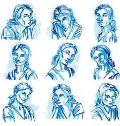 Attractive young ladies art portraits collection vector