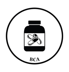 Icon of fitness pills in container vector