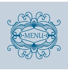 Vintage blue frame with vegetable elements for vector