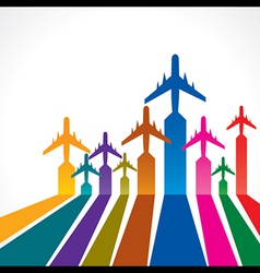 Abstract colorful background with airplane vector image vector image