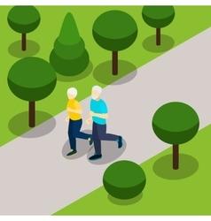 Active retirement lifestyle isometric banner vector