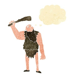 Cartoon neanderthal with thought bubble vector