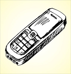Cell phone sketch vector image vector image