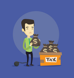 chained taxpayer with bags full of taxes vector image vector image