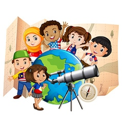 Children with telescope and world map vector image