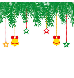 Colorful garland with bells and stars hanging vector