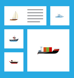 flat icon boat set of yacht cargo tanker and vector image