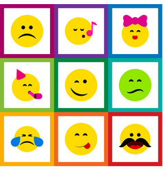 Flat icon emoji set of party time emoticon sad vector