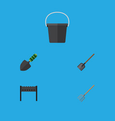 Flat icon farm set of shovel pail barbecue and vector