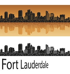 Fort Lauderdale skyline in orange vector image