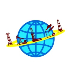 Globe and silhouettes of oil industry vector image vector image