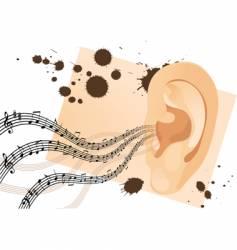 grunge human ear vector image