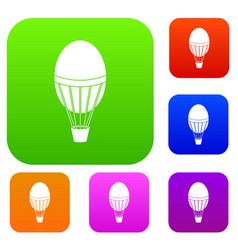 hot air balloon set color collection vector image vector image