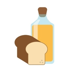 Juice bottle and bread icon vector