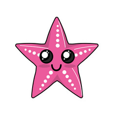Kawaii cute happy starsish emoji vector