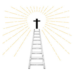 Ladder up to christian cross with sun ray vector