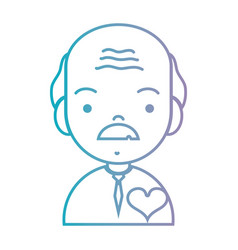 line old man with hairstyle and heart design vector image vector image