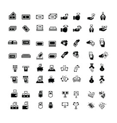 Money icons set 64 item vector