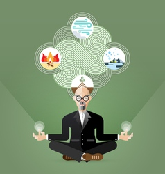 Old businessman yoga and zen meditating vector