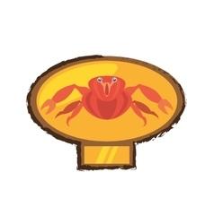 Red crab sea life marine golden emblem vector