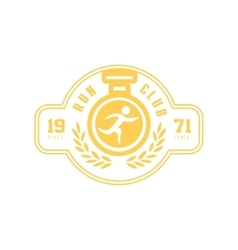 Run club yellow label design vector