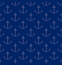 seamless travel pattern with anchor line style vector image