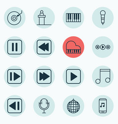 Set of 16 multimedia icons includes dance club vector