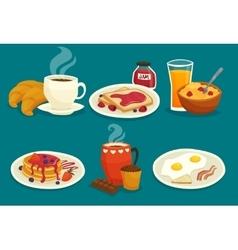 Set Of Breakfast Cartoon Icons vector image vector image