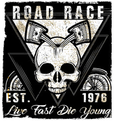 Skull vintage motorcycle logo emblem t shirt vector