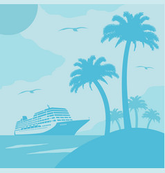Summer background card with ship vector
