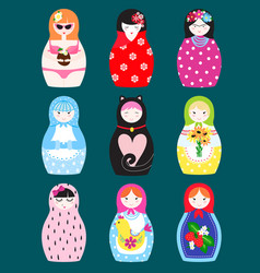 Traditional russian matryoshka toy nesting doll vector