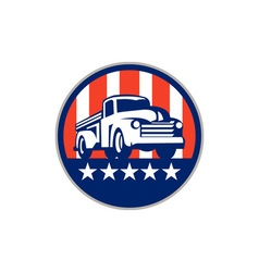 Vintage pick up truck usa flag circle retro vector