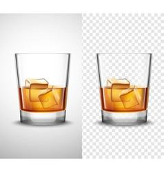 Whisky shots glassware realistic transparent vector