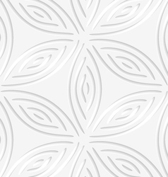 White geometrical flower like shapes perforated vector